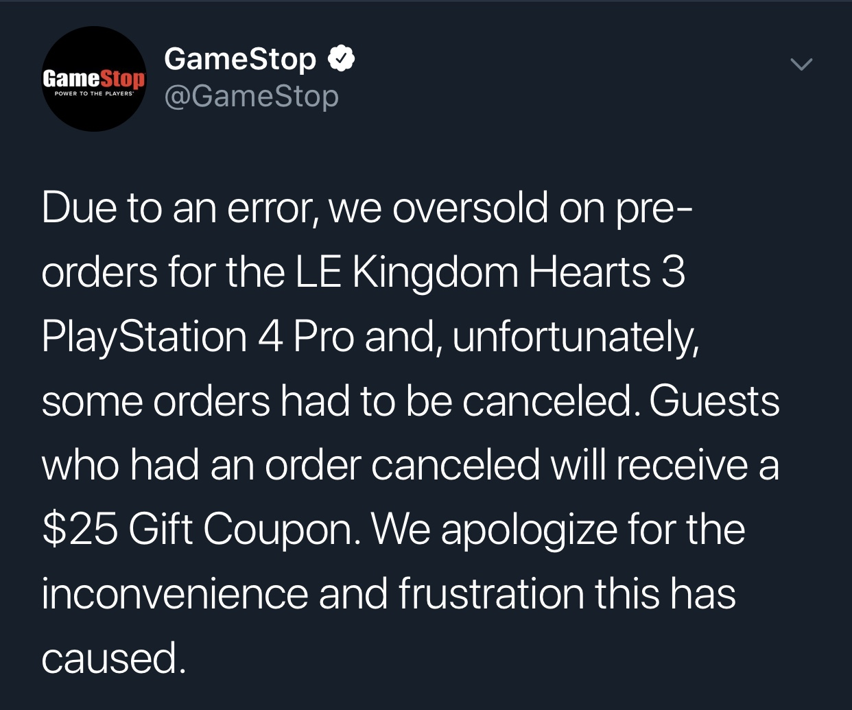 GameStop cancelling LE Kingdom Hearts III PlayStation 4 orders