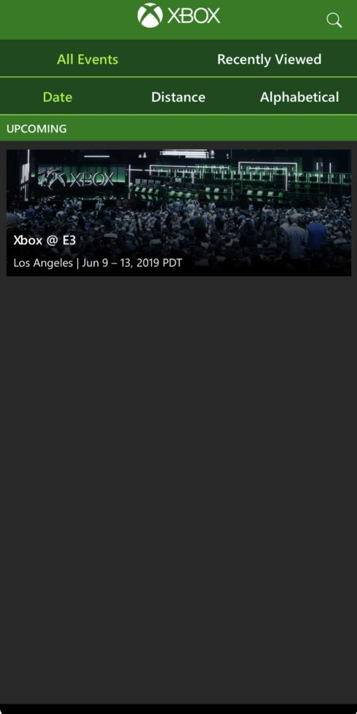 Xbox Events App - Event Selection