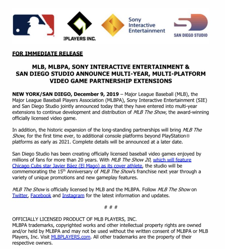MLB and Sony Press release for the multi-year, multi-platform contract extension.