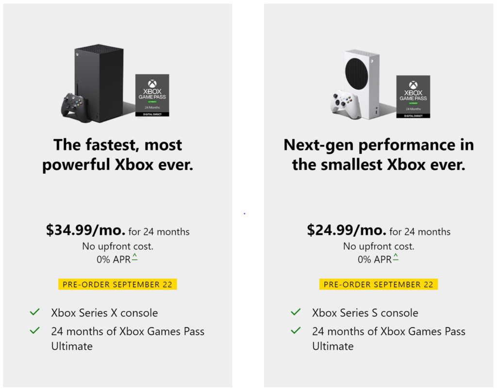 Xbox All Access plans for the Xbox Series X and Xbox Series S